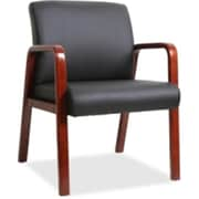 Lorell Leather Wood-Frame Guest Chair, Black (RTL156395)