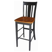 "International Concepts 30""SH Barheight Stool, Black/Cherry, San Remo (RTL54196)"