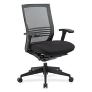 Lorell RTL156562 Fabric and Mesh Mid-Back Chair, Adjustable Arms, Black