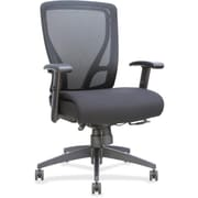 Lorell Fabric Executive Office Chair, Adjustable Arms, Black (RTL156610)