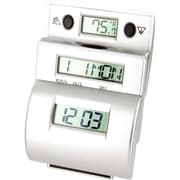 Generic Ladder Travel Alarm Clock with Fahrenheit Temp XS125676, Silver