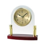 Aeropen International Glass Analog Clock with Rosewood Base (ARPN672)