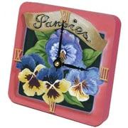 "Lexington Studios Tiny Times 5"" x 5"" Pansies Clock (LXNGS417)"