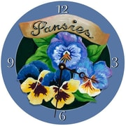 Lexington Studios Pansies Round Clock (LXNGS312)