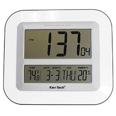 lcd wall clock with temperature date humidity rtl21cr109 staples