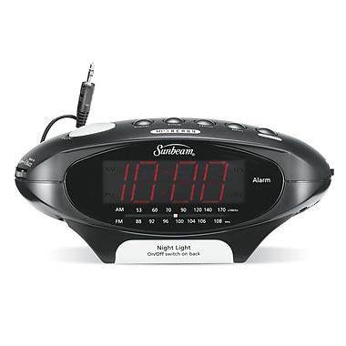 sunbeam mp3 ready am fm alarm clock radio black staples. Black Bedroom Furniture Sets. Home Design Ideas