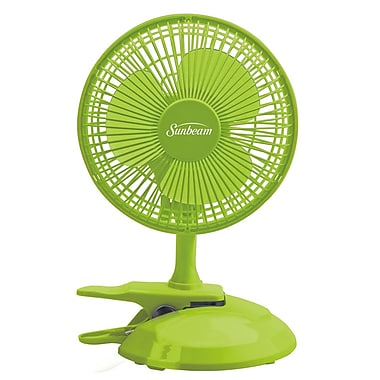 """Sunbeam Cool Me 6"""" Table/Clip Convertible Fan, Macaw Green"""