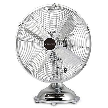 "Bionaire® 12"" Table Fan, All Metal, Chrome"