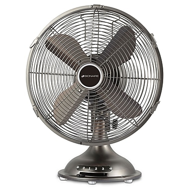 "Bionaire® 12"" Table Fan, All Metal, Pewter"