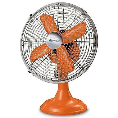 "Sunbeam Designer Series 12"" Metal Table Fan, Tangerine"