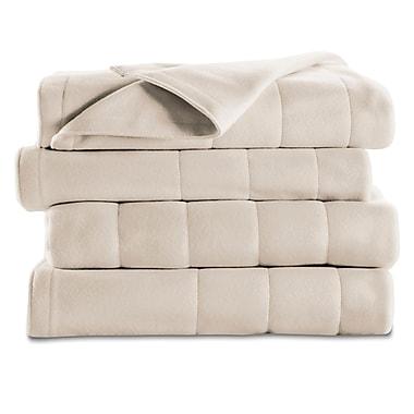 Sunbeam – Couverture chauffante en molleton piqué, format lit double/grand lit, coquillage