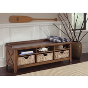 Liberty Furniture Wood Storage Entryway Bench; Oak