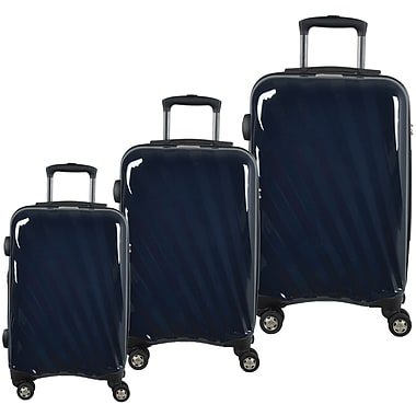McBrine Light Weight 100% Polycarbonate 3-Piece Hard Sided Luggage Set on 360 Degree Swivel Wheels with TSA Lock, Navy