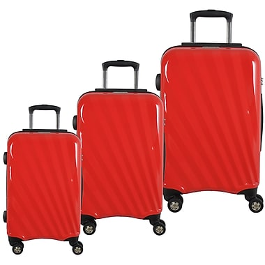 McBrine Light Weight 100% Polycarbonate 3-Piece Hard Sided Luggage Set on 360 Degree Swivel Wheels with TSA Lock, Red