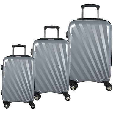 McBrine Light Weight 100% Polycarbonate 3-Piece Hard Sided Luggage Set on 360 Degree Swivel Wheels with TSA Lock, Silver