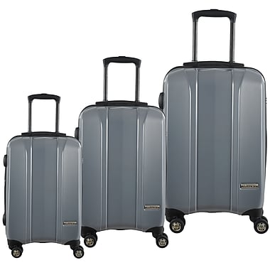 McBrine 100% Polycarbonate Exterior 3-Piece Hard Sided Luggage Set on Double Swivel Wheels with TSA Lock, Light Weight Silver