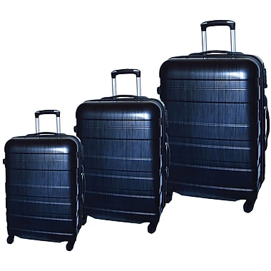 McBrine Eco-Friendly Light Weight Abs Shell with PC Film, 3-Piece Hard Sided Luggage Set on Swivel Wheels, Two Tone Black