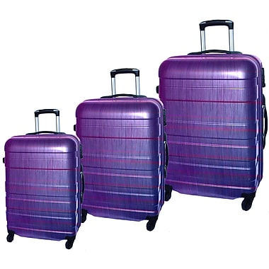 McBrine Eco-Friendly Light Weight Abs Shell with PC Film, 3-Piece Hard Sided Luggage Set on Swivel Wheels, Two Tone Purple