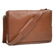 Royce Leather Luxury Calfskin Suede Lined Laptop Messenger Bag; Tan