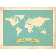 Children Inspire Design My Roots Personalized World Map Graphic Art in Blue
