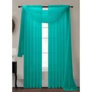 Window Elements Diamond Curtain Sheer Single Panel Scarf; Turquoise
