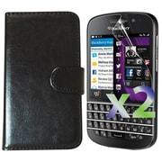 Exian Case for Blackberry Q10 Leather Wallet, Black