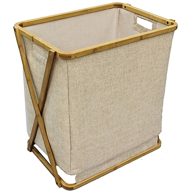 Cathay Importers Bamboo Linen Rectangular Laundry Hamper, 19.5