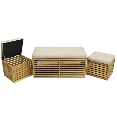 Cathay Importers Bamboo Linen 3-Piece Trunk and Ottoman Set