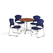 """OFM 36"""" Round Laminate Multi-Purpose Table with Four Chairs, Cherry Table/Navy Chair (PKG-BRK-041-0003)"""