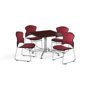 "OFM 36"" Square Laminate Multi-Purpose Table with Four Chairs, Mahogany Table/Wine Chair (PKG-BRK-042-0010)"