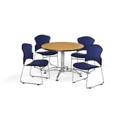 "OFM 42"" Round Laminate Multi-Purpose Table with 4 Chairs, Oak Table/Navy Chairs (PKG-BRK-043-0015)"