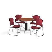 "OFM 42"" Round Laminate Multi-Purpose Mesh-Base Table with Four Chairs, Cherry Table/Wine Chair (PKG-BRK-047-0002)"