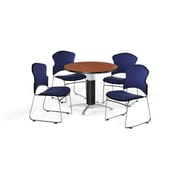 "OFM 42"" Round Laminate Multi-Purpose Mesh-Base Table with 4 Chairs, Cherry Table/Navy Chairs (PKG-BRK-047-0003)"