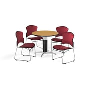 """OFM 36"""" Round Laminate Multi-Purpose Mesh-Base Table with 4 Chairs, Oak Table/Wine Chairs (PKG-BRK-045-0014)"""