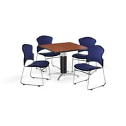 "OFM 36"" Square Laminate Multi-Purpose Mesh-Base Table with 4 Chairs, Cherry Table/Navy Chairs (PKG-BRK-046-0003)"