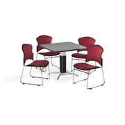 "OFM 42"" Square Laminate Multi-Purpose Mesh-Base Table with 4 Chairs, Gray Nebula Table/Wine Chairs (PKG-BRK-048-0006)"