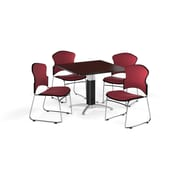 "OFM 36"" Square Laminate Multi-Purpose Mesh-Base Table with Four Chairs, Mahogany Table/Wine Chair (PKG-BRK-046-0010)"