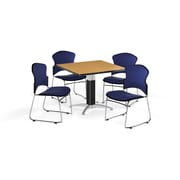 """OFM 42"""" Square Laminate Multi-Purpose Mesh-Base Table with Four Chairs, Oak Table/Navy Chair (PKG-BRK-048-0015)"""