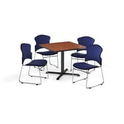"OFM 42"" Square Laminate Multi-Purpose X-Series Table with 4 Chairs, Cherry Table/Navy Chairs (PKG-BRK-052-0003)"