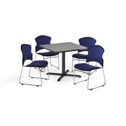"OFM 36"" Square Laminate Multi-Purpose X-Series Table with Four Chairs, Gray Nebula Table/Navy Chair (PKG-BRK-050-0007)"