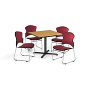 """OFM 42"""" Square Laminate Multi-Purpose X-Series Table With 4 Chairs, Oak Table/Wine Chair (PKG-BRK-052-0014)"""
