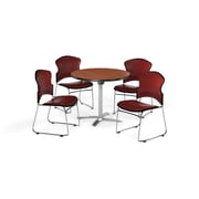 "OFM 42"" Round Laminate Multi-Purpose Flip-Top Table with Four Chairs, Cherry Table/Wine Chair (PKG-BRK-055-0002)"