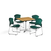 "OFM 36"" Square Laminate Multi-Purpose Flip-Top Table with Four Chairs, Oak Table/Teal Chair (PKG-BRK-054-0016)"