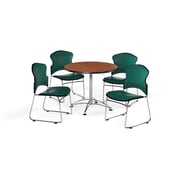 """OFM 36"""" Round Laminate Multi-Purpose Table with Four Chairs, Cherry Table/Teal Chair (PKG-BRK-057-0001)"""