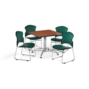 "OFM 36"" Square Laminate Multi-Purpose Table with Four Chairs, Cherry Table/Teal Chair (PKG-BRK-058-0001)"