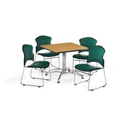 "OFM 36"" Square Laminate Multi-Purpose Table with Four Chairs, Oak Table/Teal Chair (PKG-BRK-058-0016)"