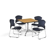 """OFM 42"""" Square Laminate Multi-Purpose Table with Four Chairs, Oak Table/Navy Chair (PKG-BRK-060-0019)"""