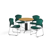 "OFM 36"" Round Laminate Multi-Purpose Mesh-Base Table with Four Chairs, Oak Table/Teal Chair (PKG-BRK-061-0016)"