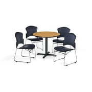 """OFM 42"""" Round Laminate Multi-Purpose X-Series Table with Four Chairs, Oak Table/Navy Chair (PKG-BRK-067-0019)"""