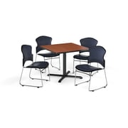 "OFM PKG-BRK-068-0004 42"" Square Laminate Multipurpose X-Series Table with 4 Chairs, Cherry Table/Navy Chair (PKG-BRK-068-0004)"